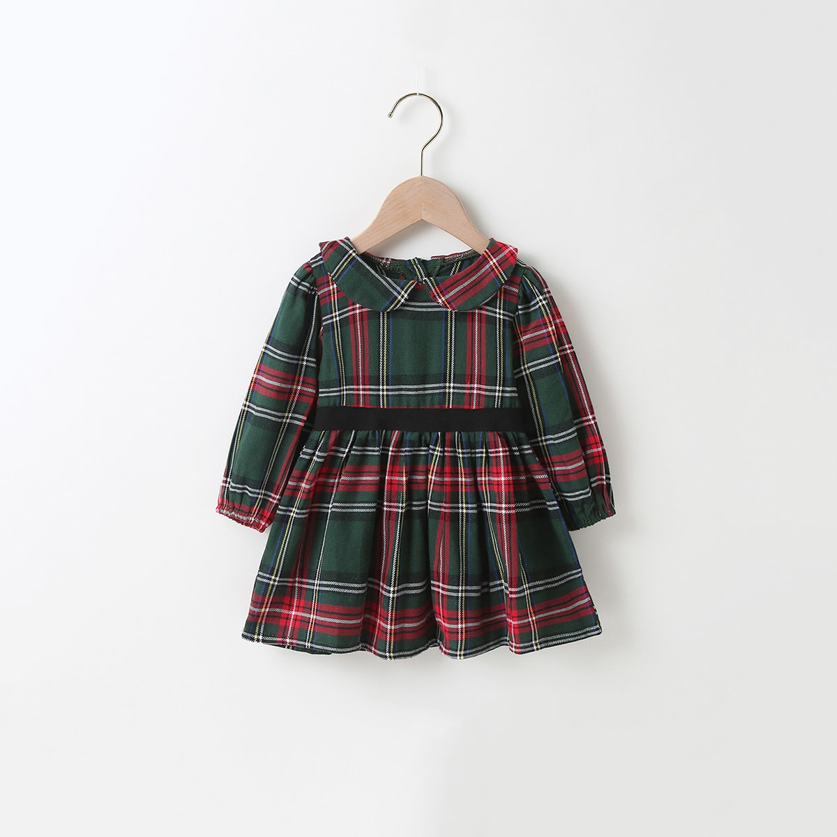 shein Preppy Ruitmotief Baby-jurk Knoop