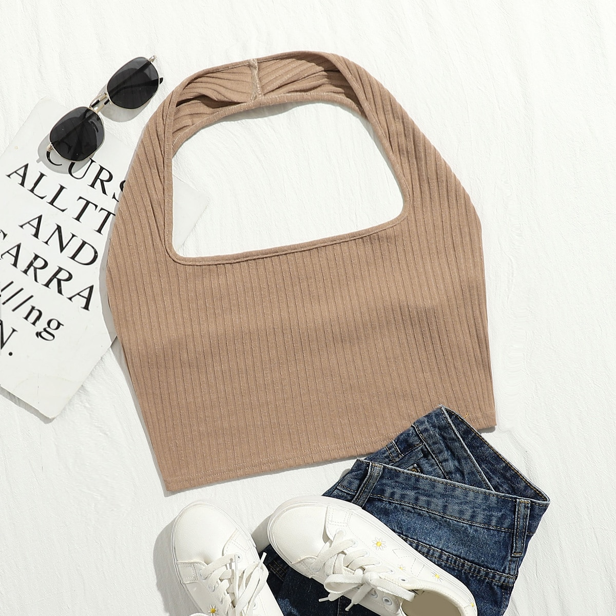 SHEIN / Plus Rib-knit Crop Halter Top