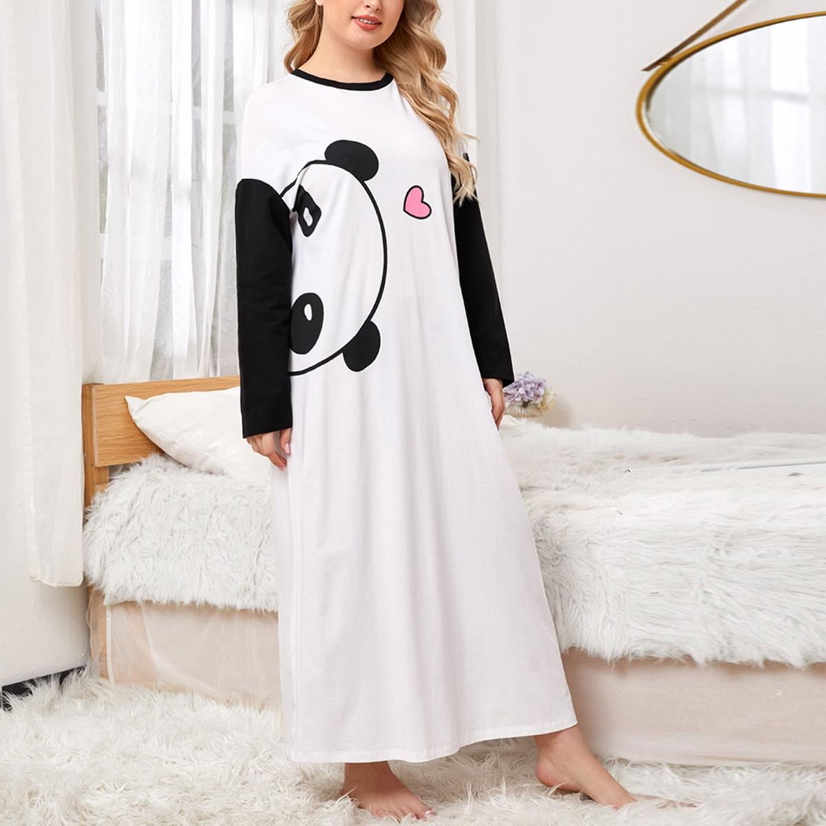 SHEIN / Plus Drop Shoulder Heart and Panda Print Nightdress