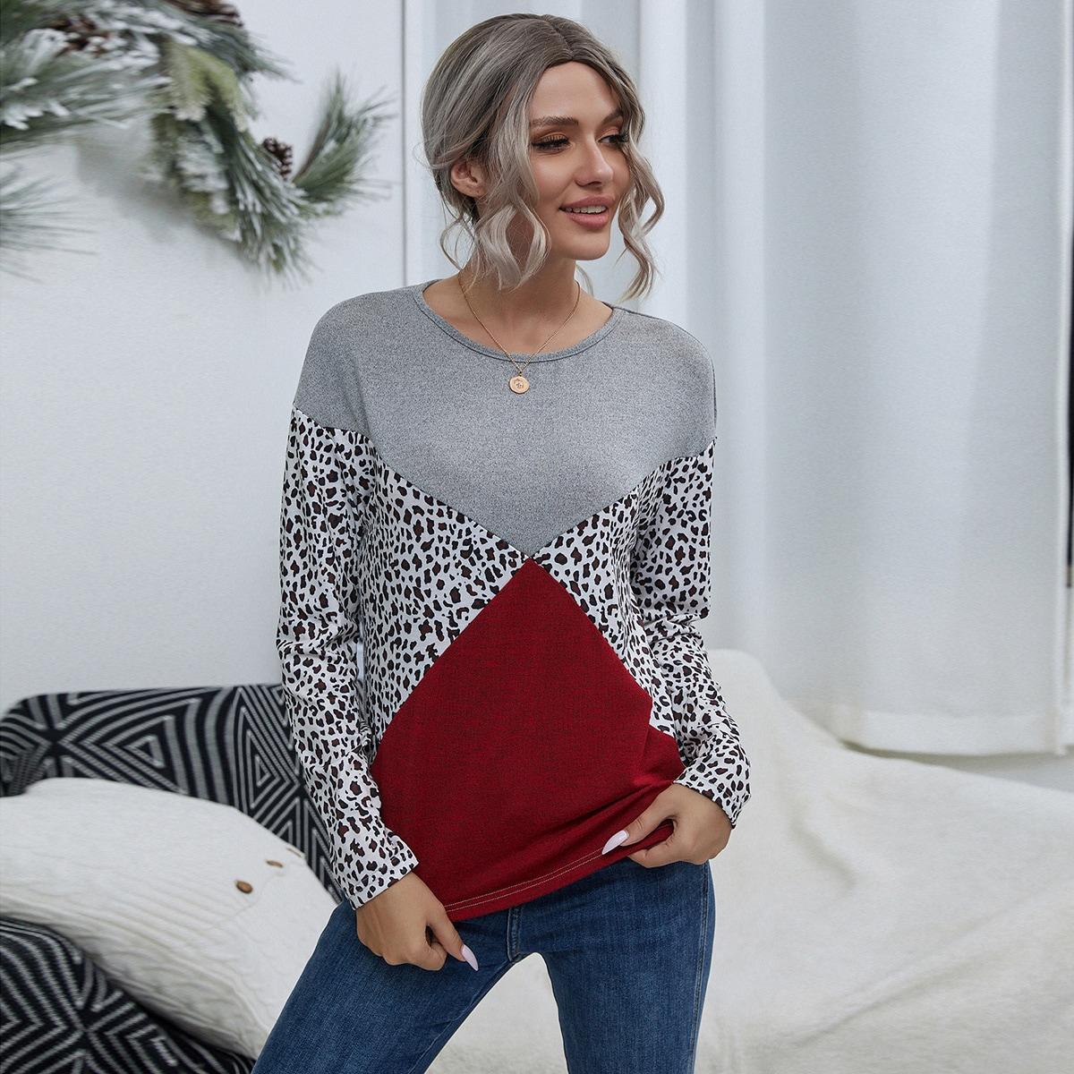 SHEIN / T-Shirt mit Fledermausärmeln, Farbblock und Leopard Muster