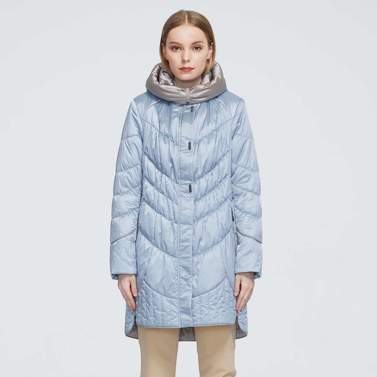 Zipper & Button Placket Quilted Padded Coat