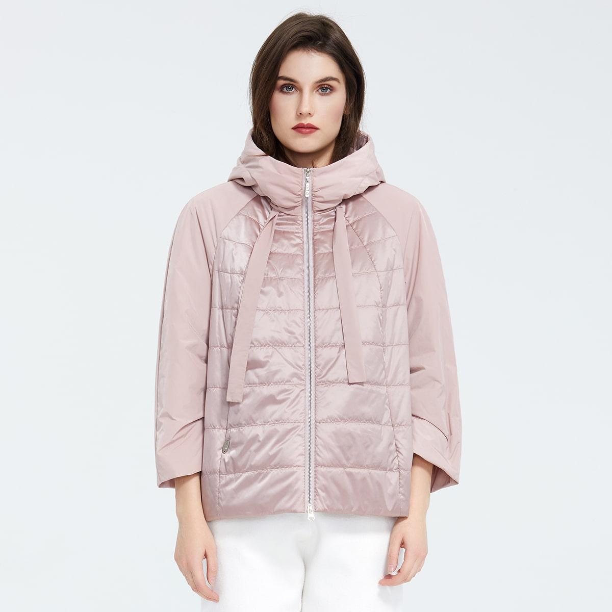 Zip Up Hooded Raglan Sleeve Padded Coat
