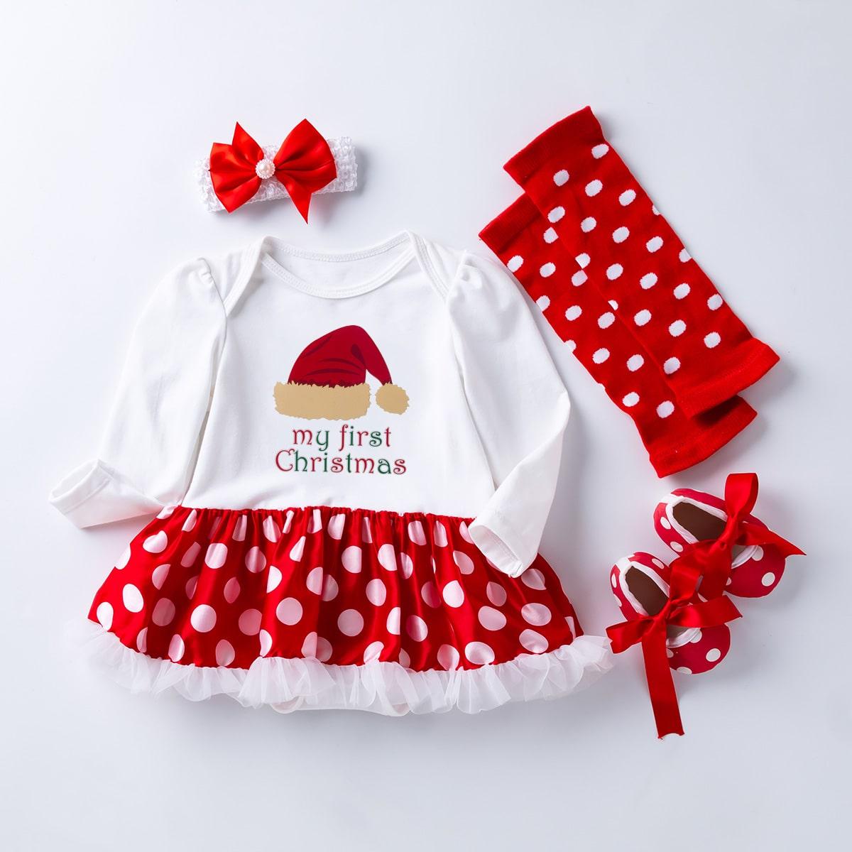 shein Betoverend Stippen Baby-jurk Boog