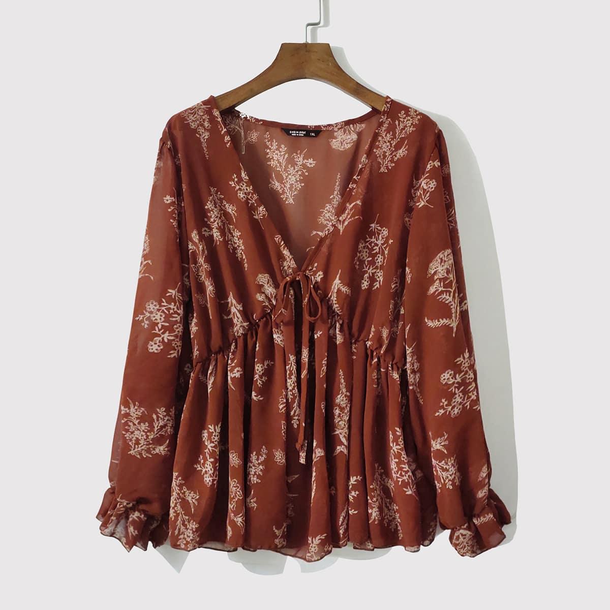 SHEIN / Bluse mit Knoten vorn, Pflanzen Muster und Schößchen