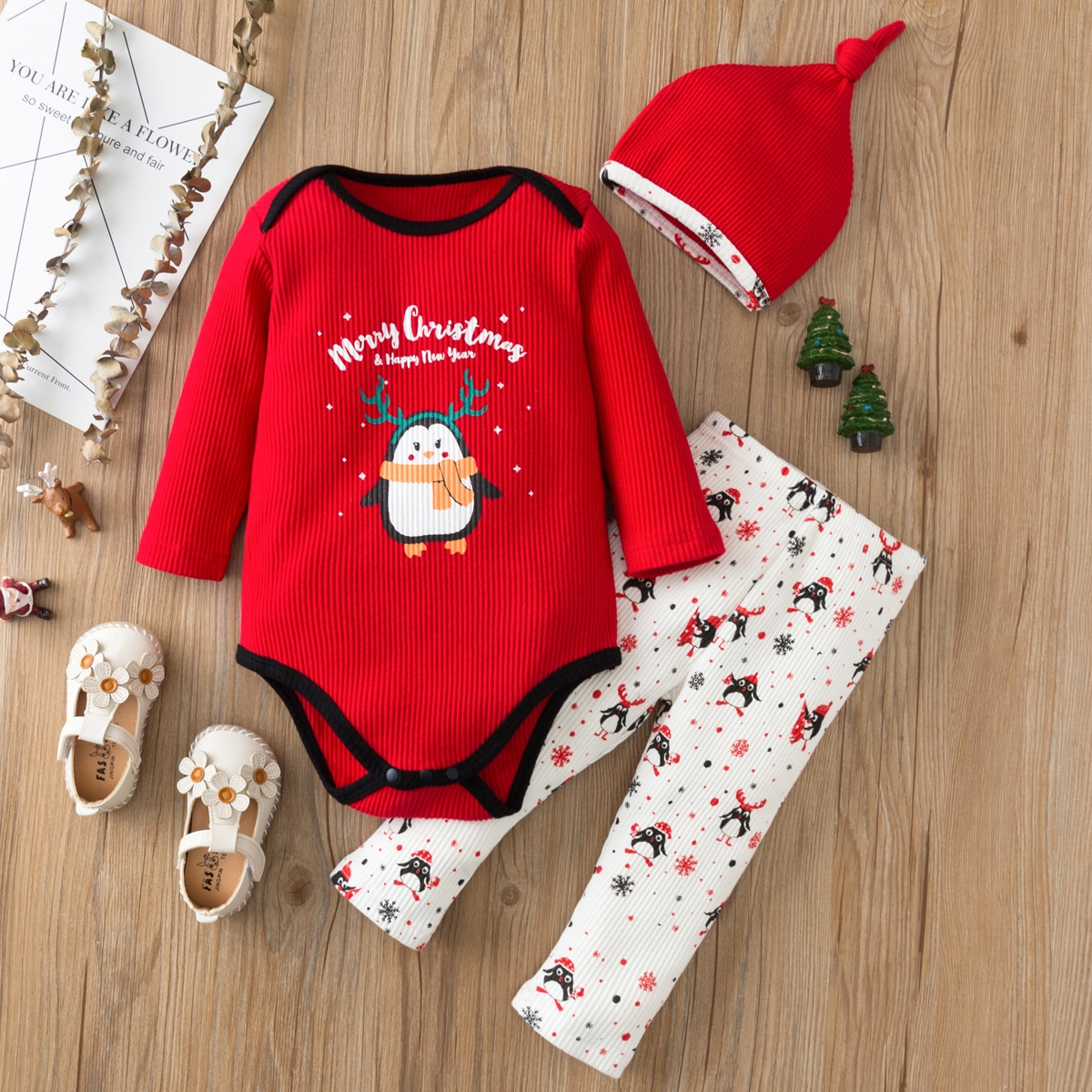 shein Casual Kerstmis Baby-setjes Contrasterende Zomen