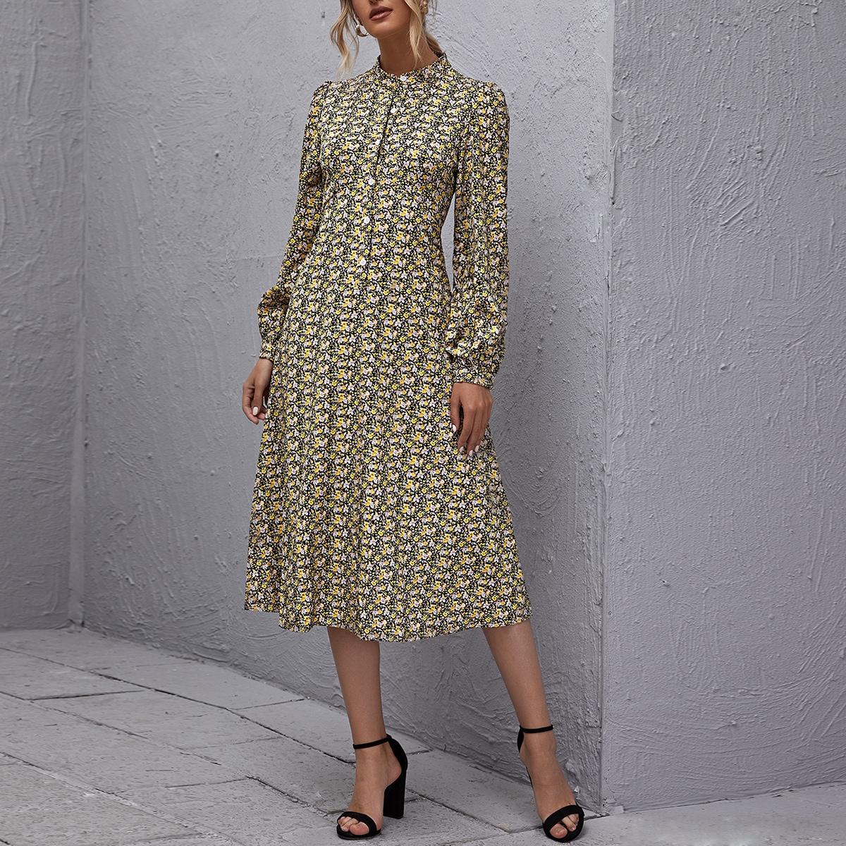SHEIN / Kleid mit Knöpfen vorn, Laternenärmeln und Gänseblümchen Muster