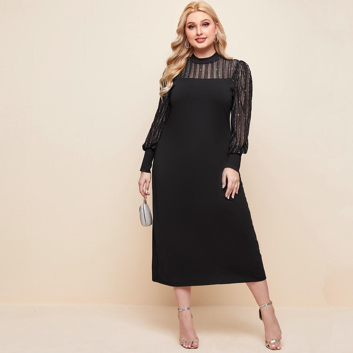 SHEIN / Kleid mit Netzstoff Ärmeln und Schlitz