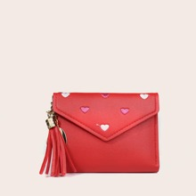 Tassel Decor Heart Embroidered Purse (swbag18201013604) photo