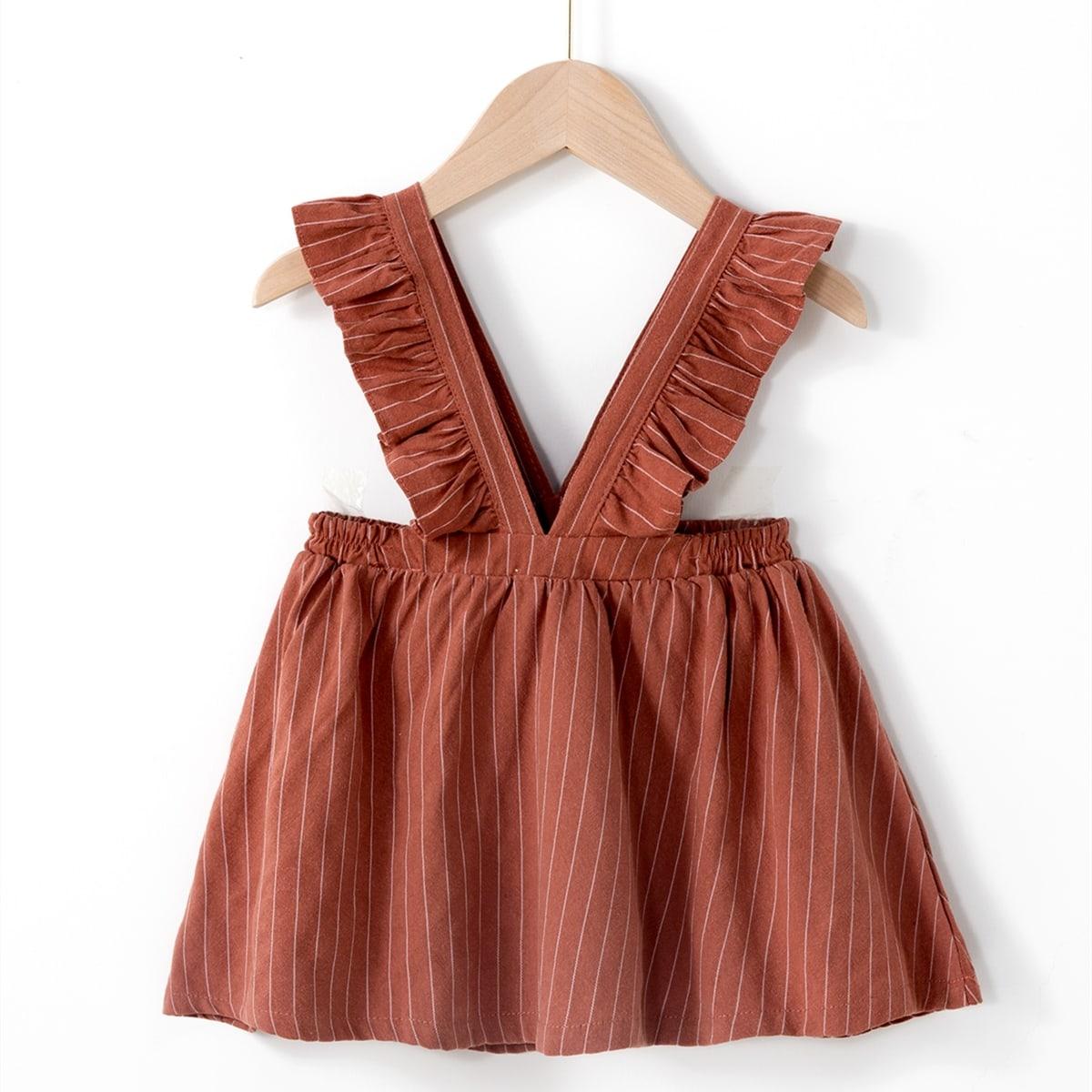 Vestido con tira ribete fruncido de rayas