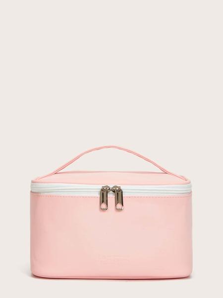 Solid Zipper Makeup Bag