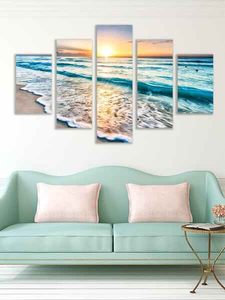 5pcs Sea Print Wall Painting Without Frame