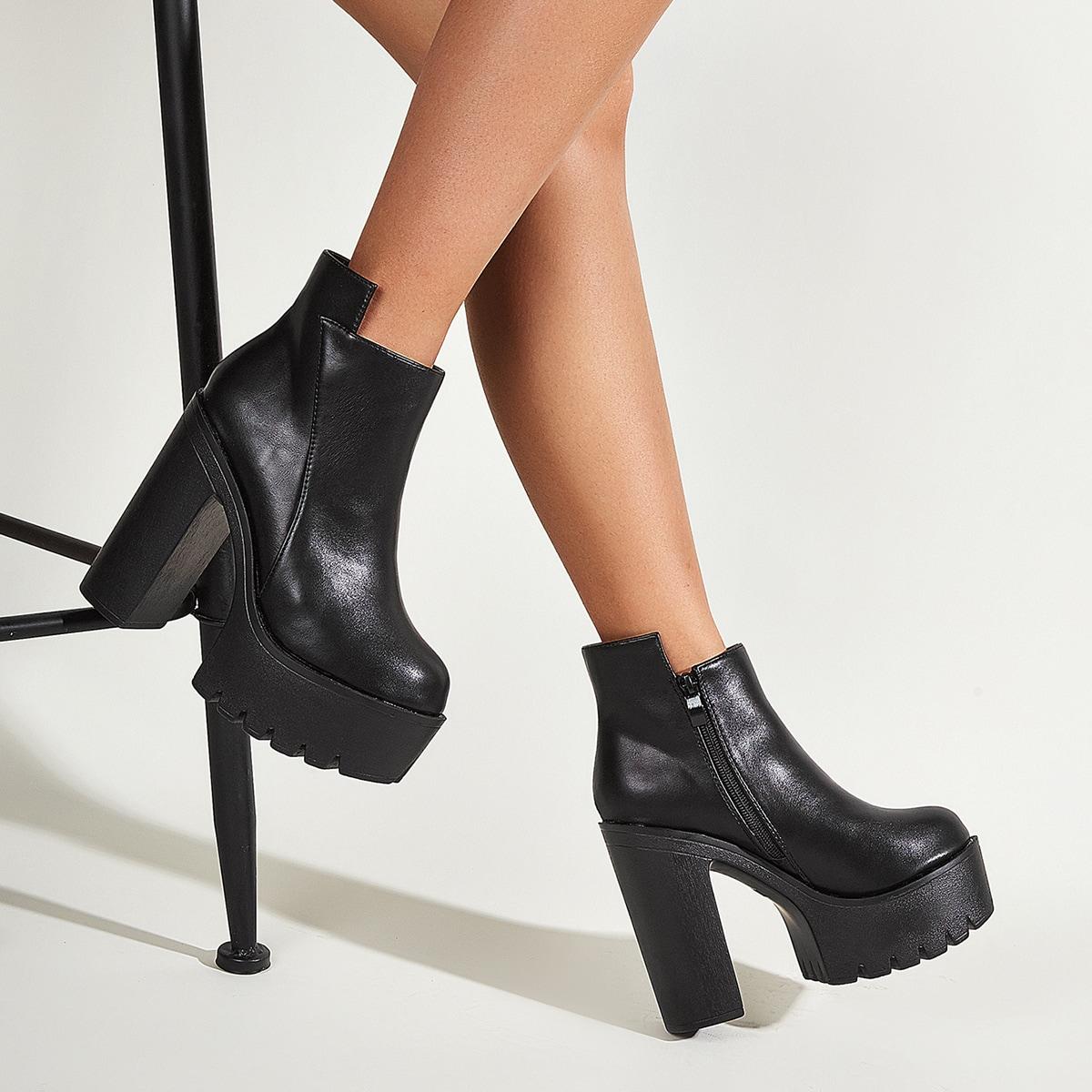 SHEIN / Minimalistische Stiefel mit Reißverschluss und Platform