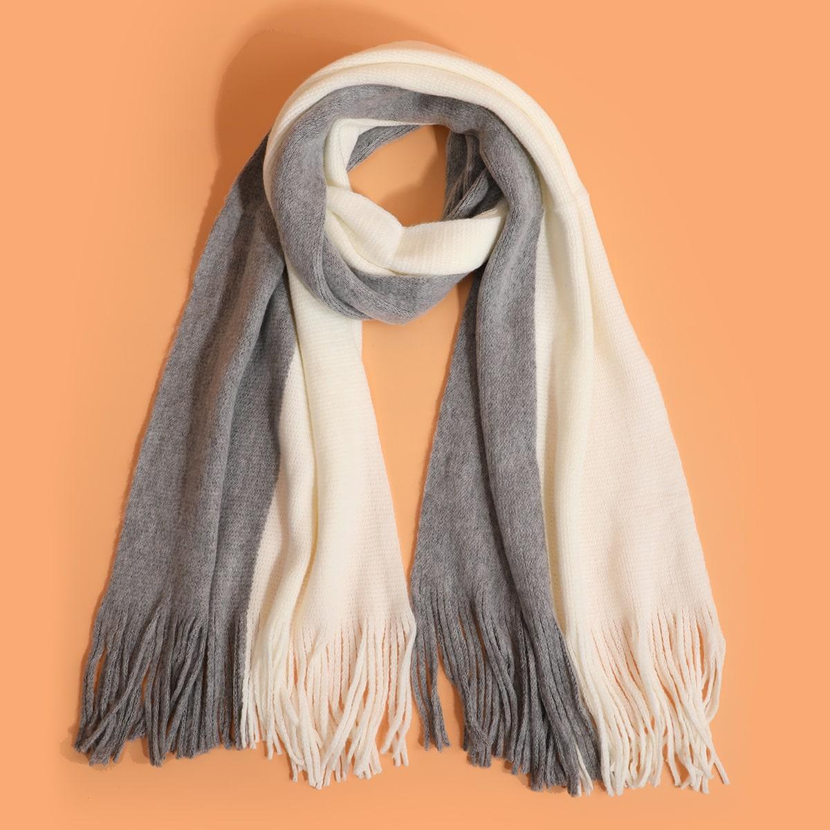shein Heren colour block franje zoom sjaal