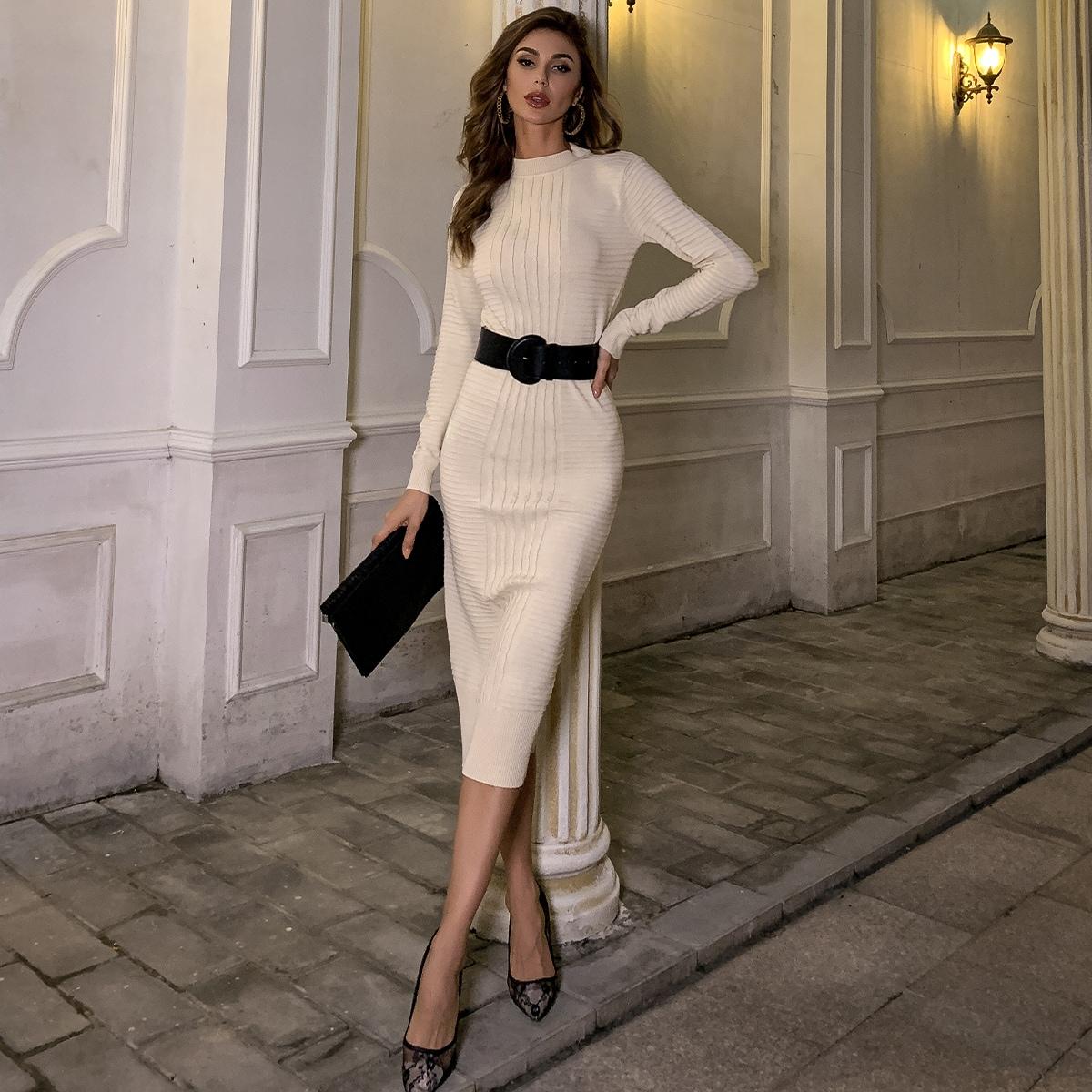 Vestidos de Punto Cut-out Liso Elegante