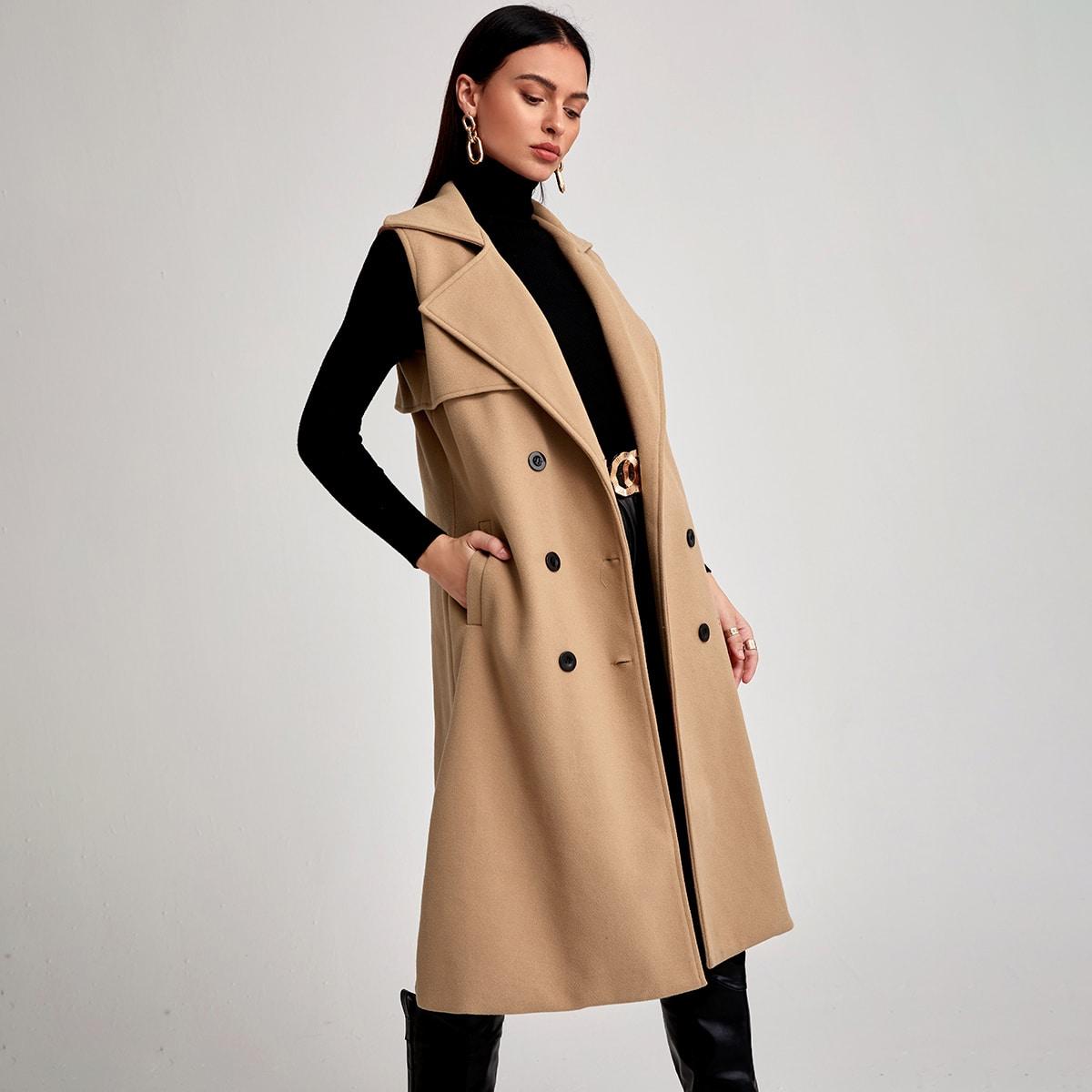 Двубортное пальто-жилет с лацканами
