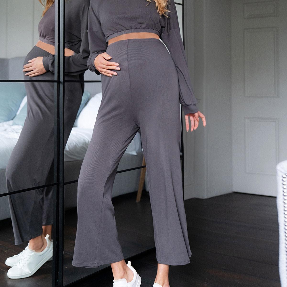 Шнуровка Ровный цвет Повседневный Комплекты для беременных от SHEIN