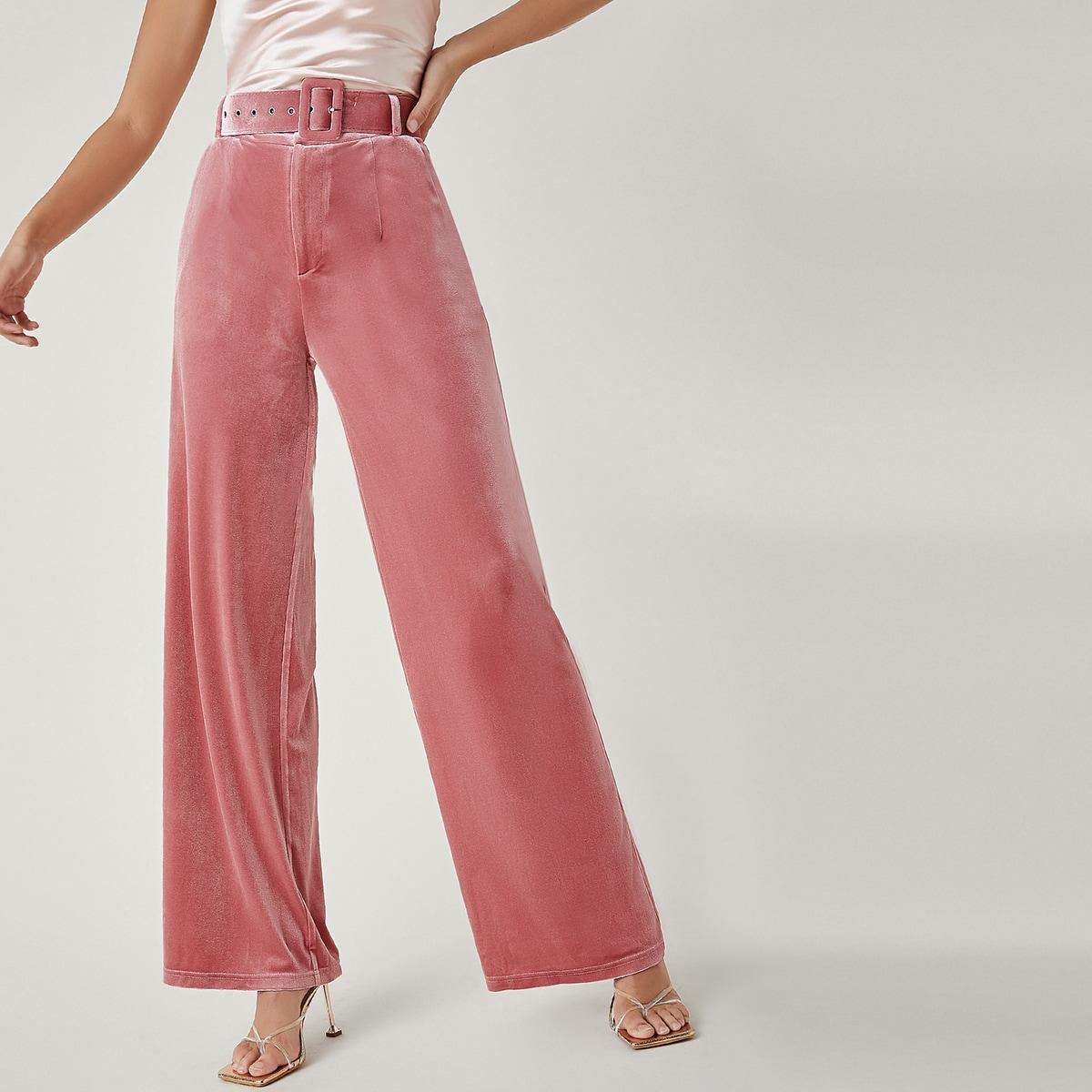 SHEIN / Einfarbige Samt Hose mit Schnalle und Gürtel