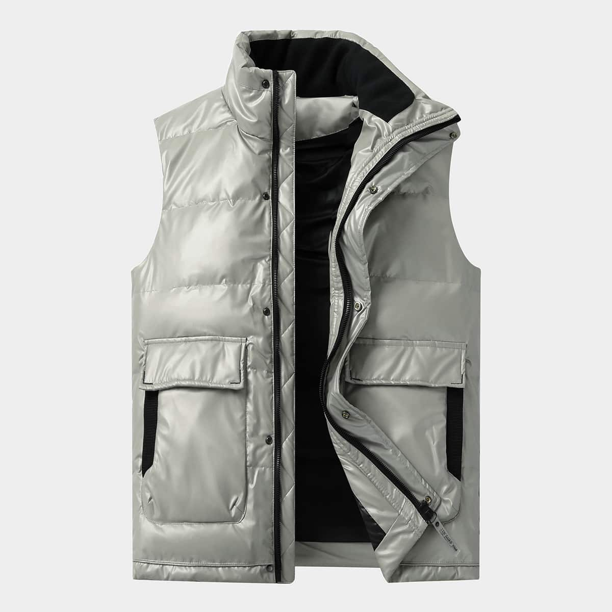 Мужской пуховой жилет на молнии с карманами от SHEIN
