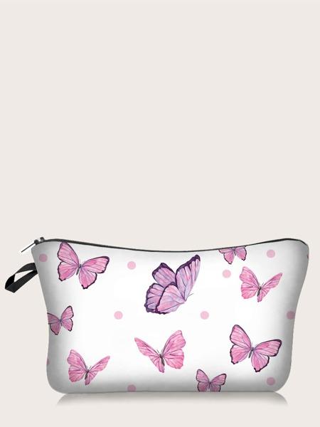 Butterfly Print Makeup Bag
