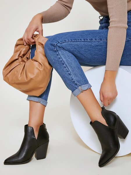 Fake Leather Slip-On Notched Booties