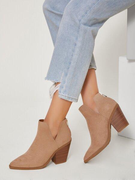 Vegan Suede Notched Block Heel Boots