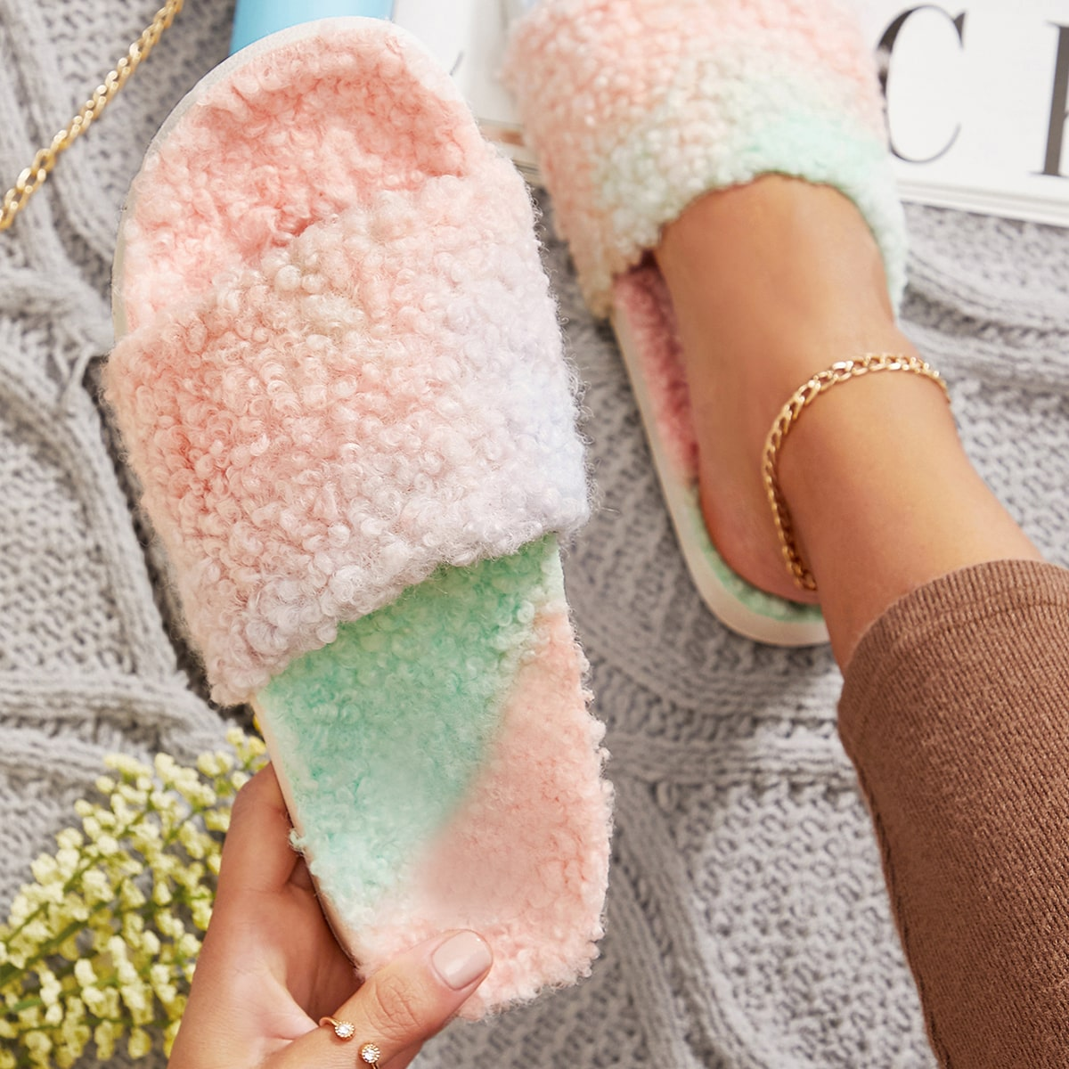 SHEIN / Multicolored Fuzzy Faux Fur Slippers