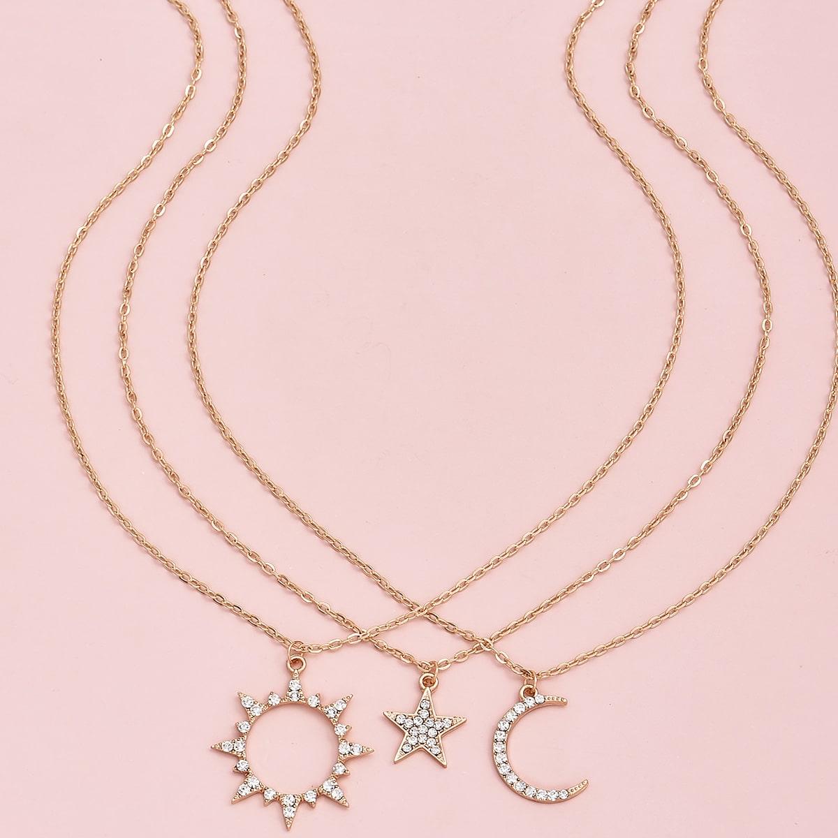 SHEIN / 3 Stücke Halskette mit Stern & Mond Anhänger