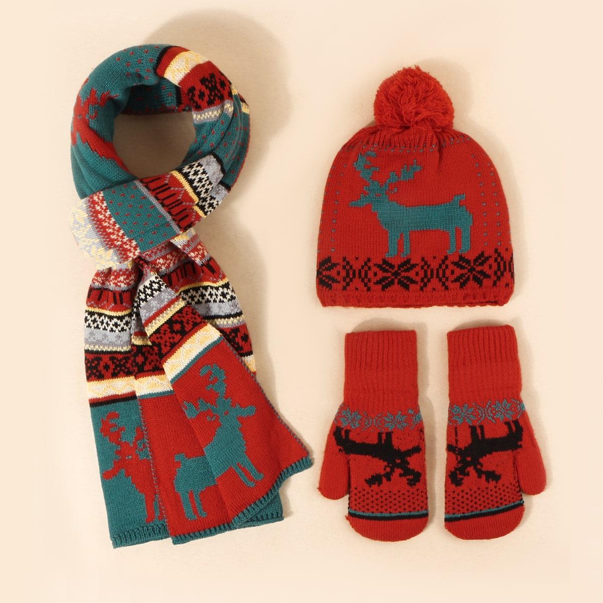 Перчатки, шарф и шапка с рождественским рисунком