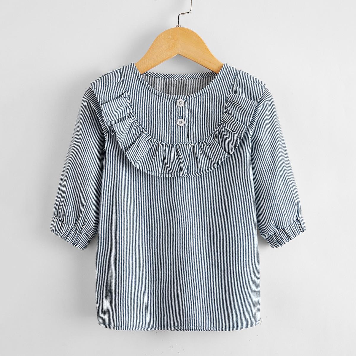 Джинсовое платье в полоску для девочек от SHEIN