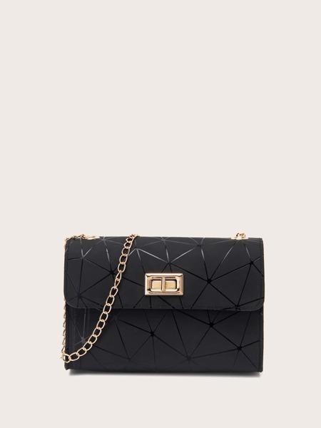 Geometric Pattern Chain Crossbody Bag