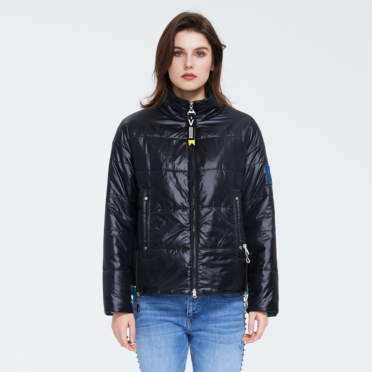 Ziai Zip Up Patched Detail Puffer Jacket