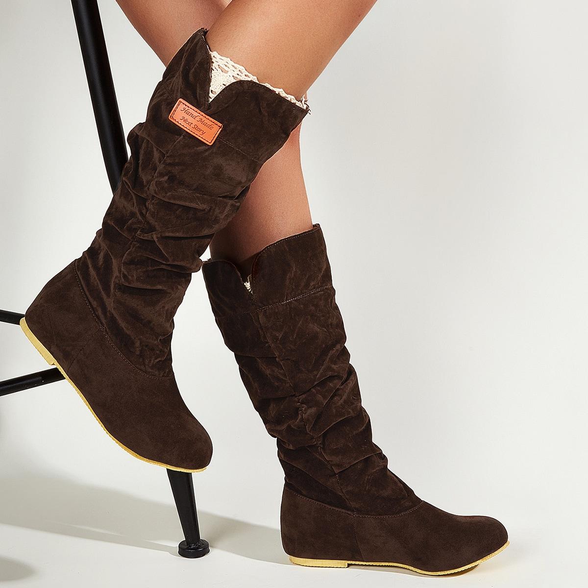 Замшевые сапоги с круглым носком от SHEIN