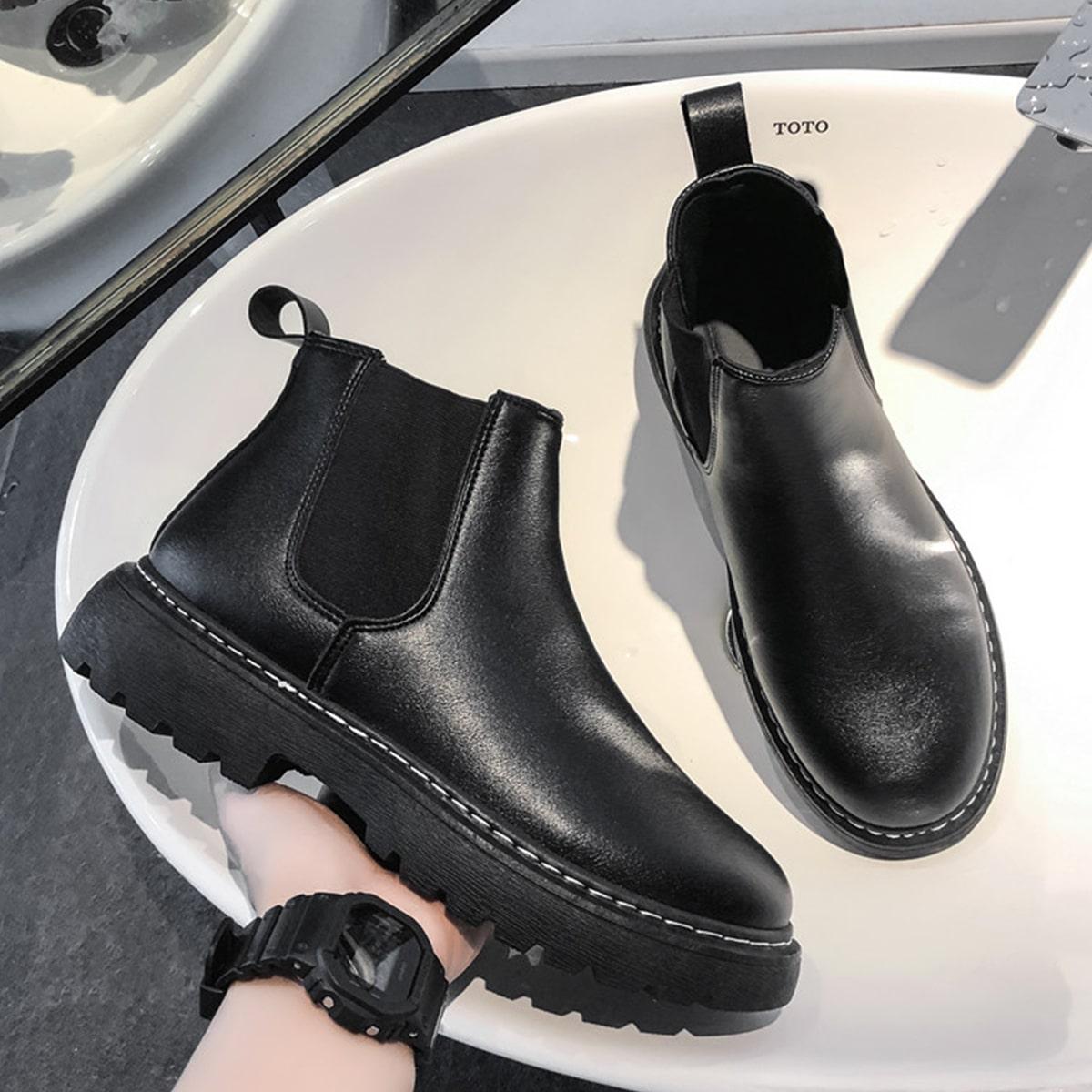 SHEIN / Männer Chelsea Stiefel mit runder Zehenpartie
