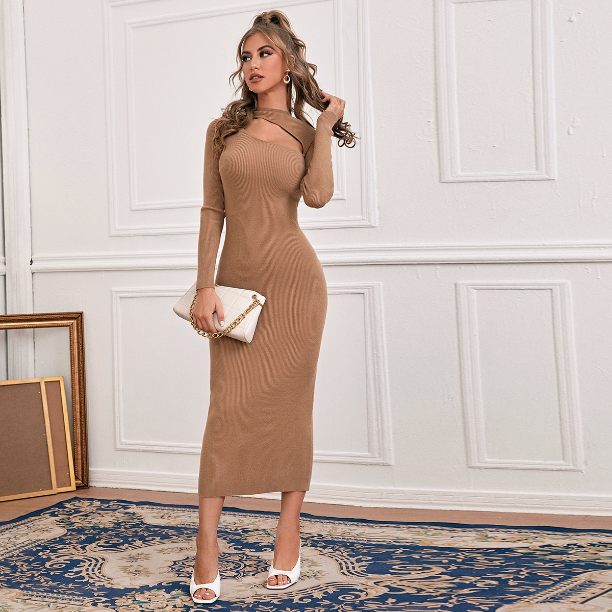 SHEIN / Cutout Front Bodycon Sweater Dress