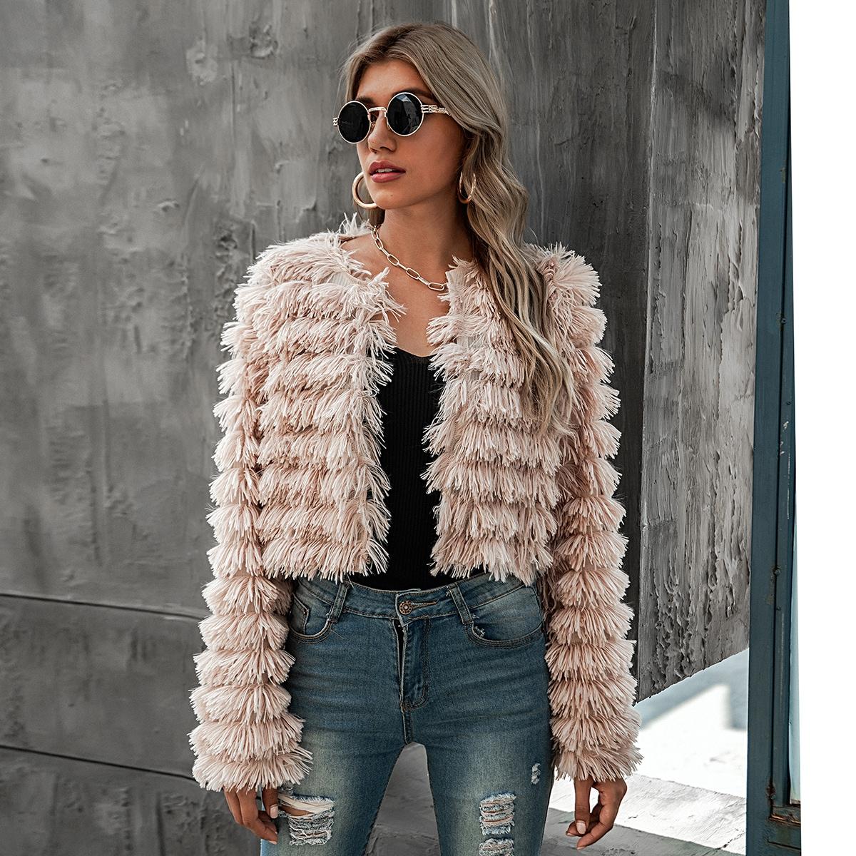 Плюшевое пальто из искусственного меха