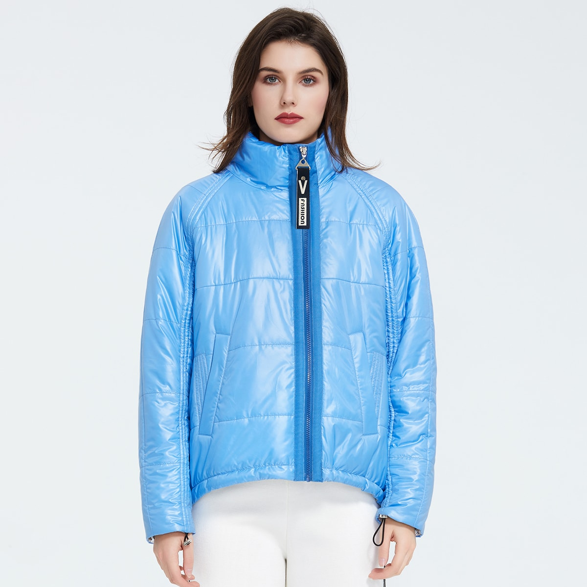 Ziai High Neck Zip Up Raglan Sleeve Puffer Coat