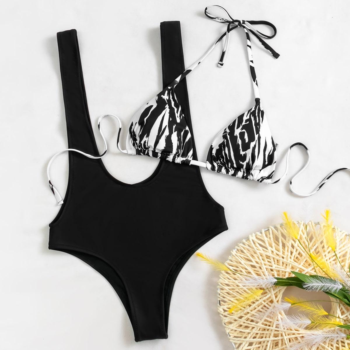 SHEIN / Graphic Print Triangle Suspender Bikini Swimsuit