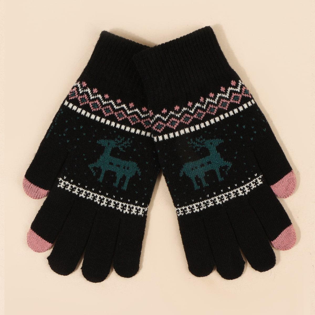 Перчатки с принтом лося