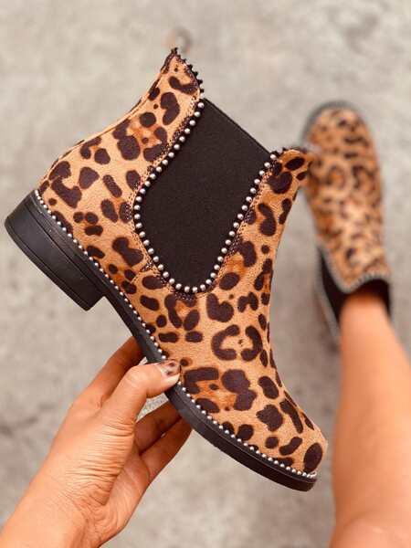 Beaded Decor Leopard Chelsea Boots