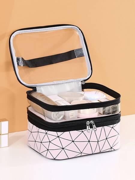 1pc Geometric Pattern Large Toiletries Bag