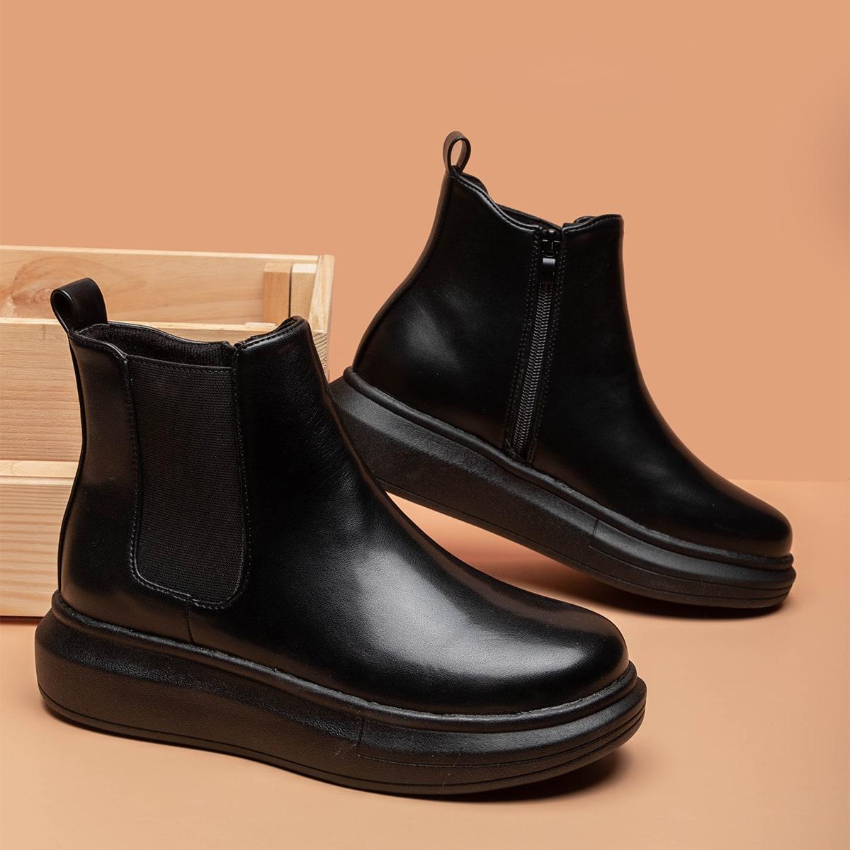 SHEIN / Minimalistische Chelsea Stiefel mit Reißverschluss
