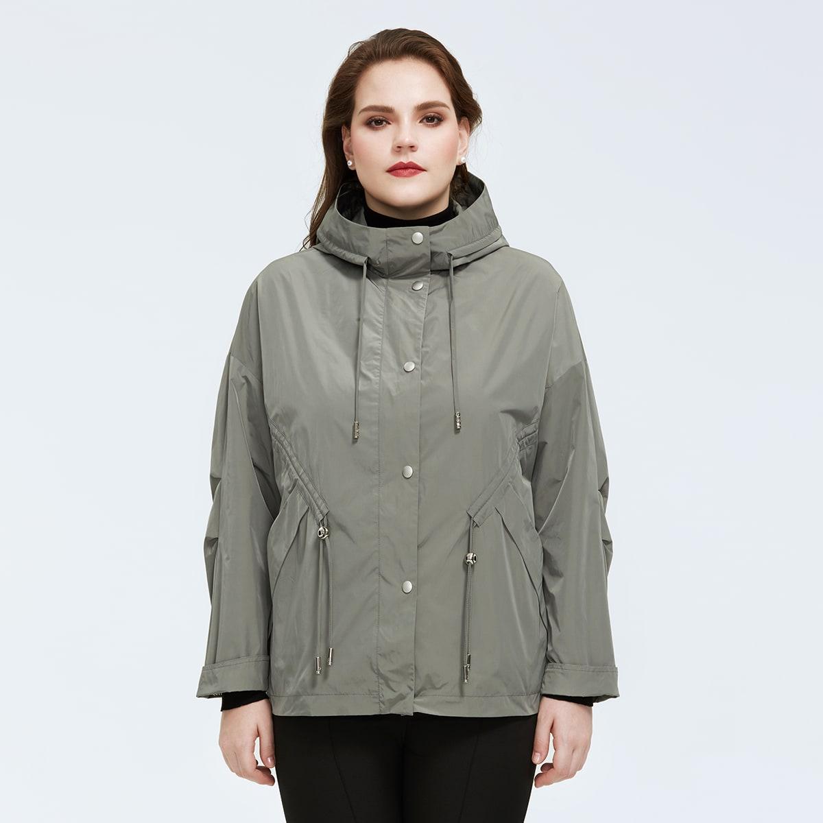 Astrid Plus Drawstring Waist Slant Pocket Hooded Wind Jacket