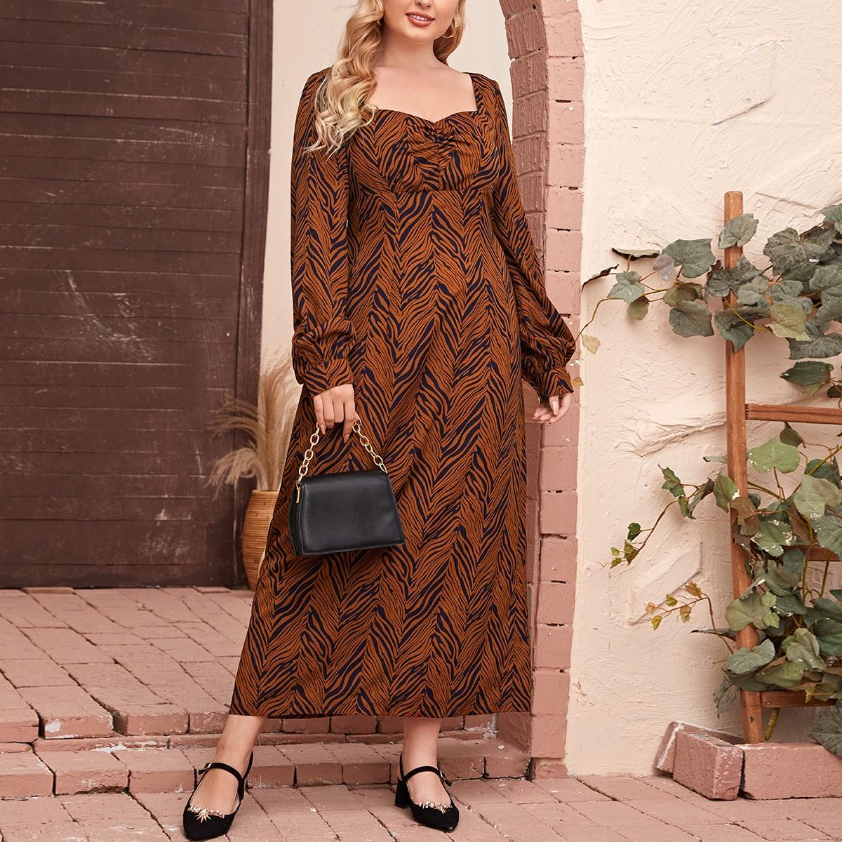 SHEIN / Gerüscht Überalles Muster Lässig Kleider Große Größen