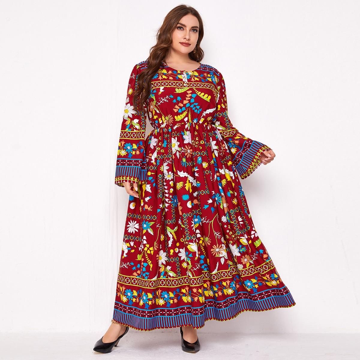Пуговица Цветочный Бохо Платья размер плюс