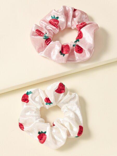 2pcs Strawberry Pattern Scrunchie