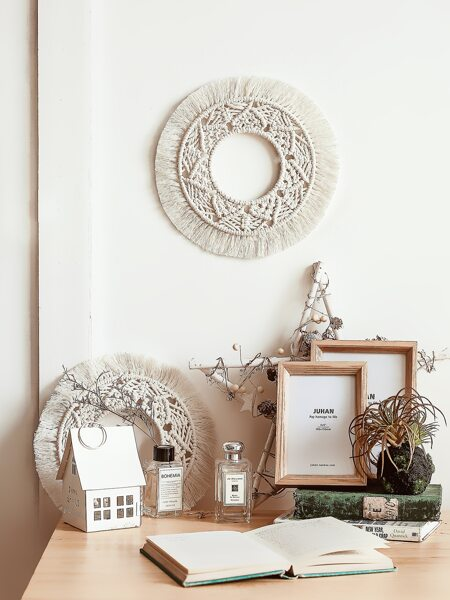 1pc Round Woven Tassel Wall Hanging