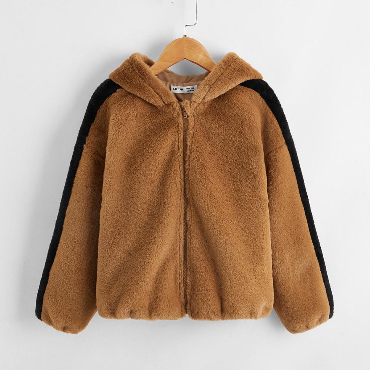 SHEIN / Mantel mit Kontrast, seitlicher Naht und Kunstpelz