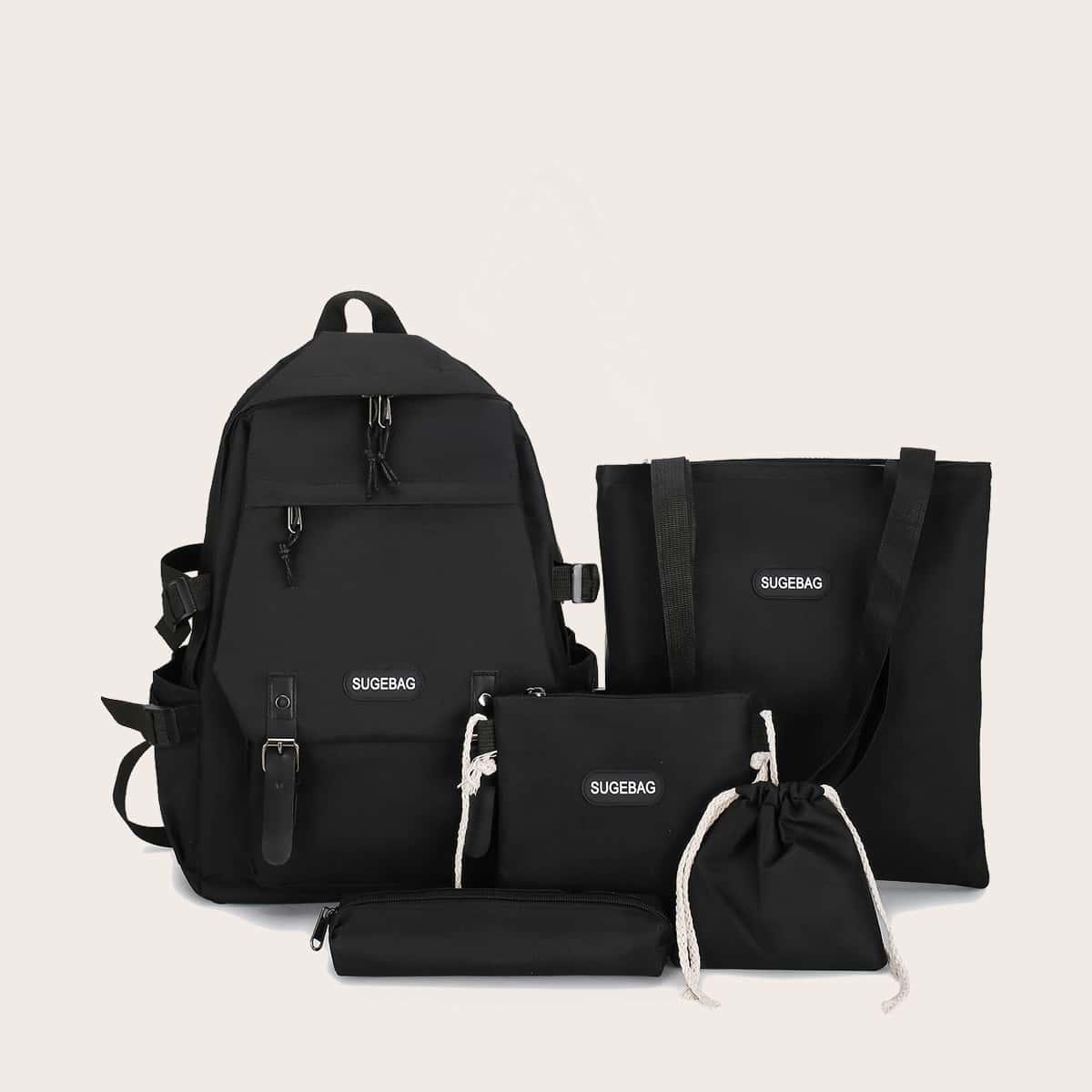 5шт комплект мужского рюкзака с текстовым принтом от SHEIN