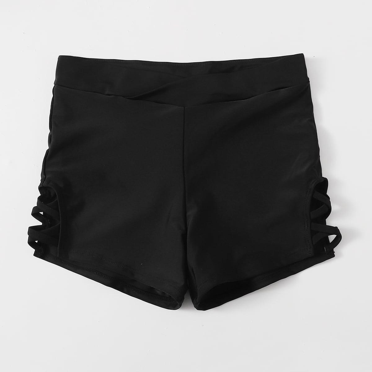 shein Basics Vlak Bikini bottom criss cross