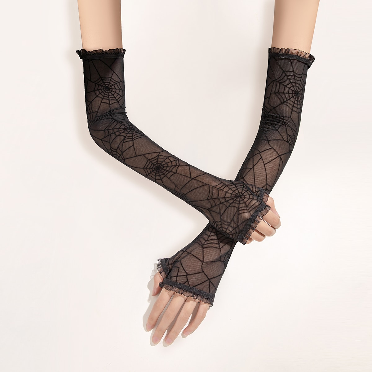 Кружевные перчатки с открытыми пальцами и узором от SHEIN